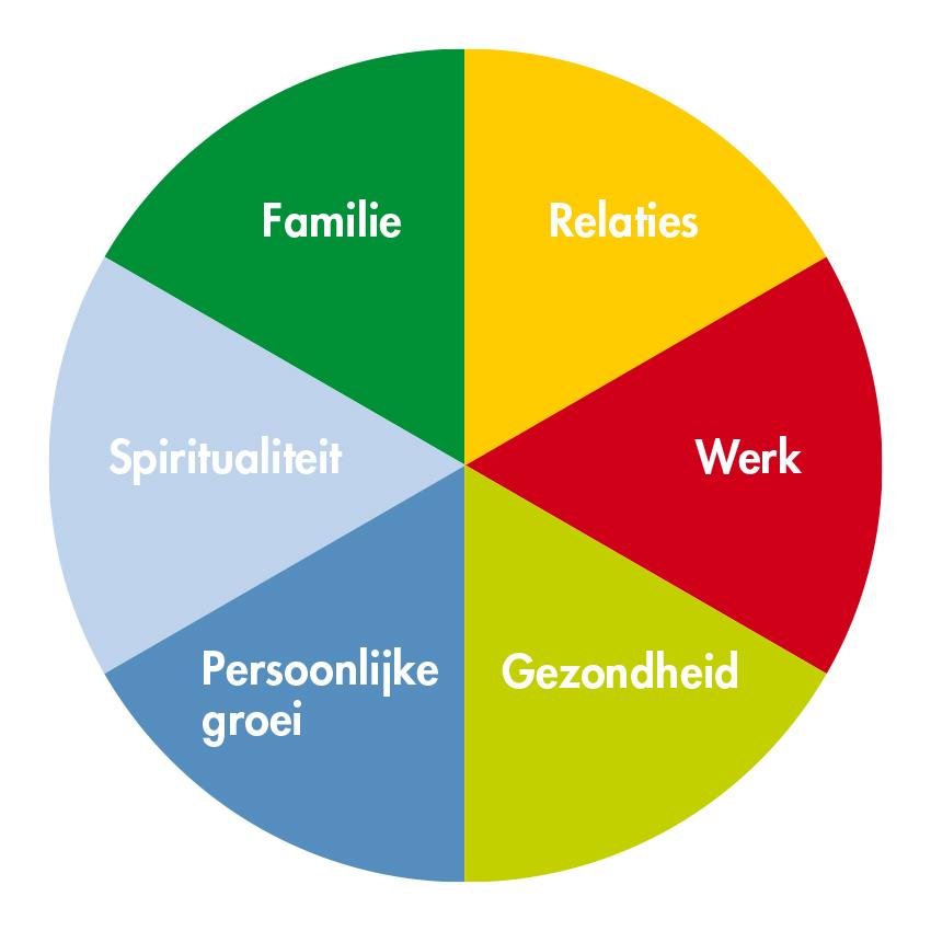 De zes verschillende levensgebieden waarop jouw kernwaarden van toepassing kunnen zijn.